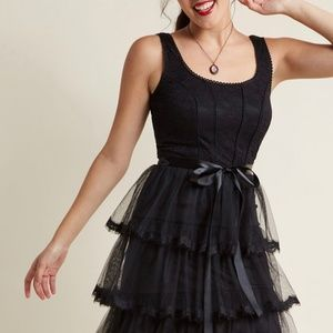 Modcloth Mystic black tier dress - medium